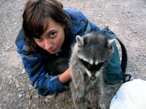 Emily Porter with Roadkill Raccoon