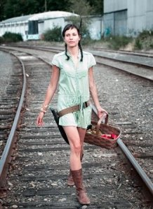 Post-Apocalyptic Hunter-Gatherer on Railroad Tracks